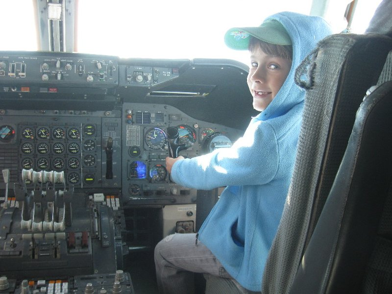 Michael at the controls of a 747 at the Qantas Founders Museum. Be very afraid . . .