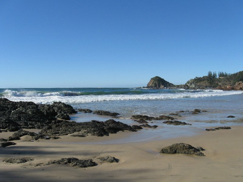 Flynn's Beach at Port Macquarie. Surfing lessons are run here in summer.