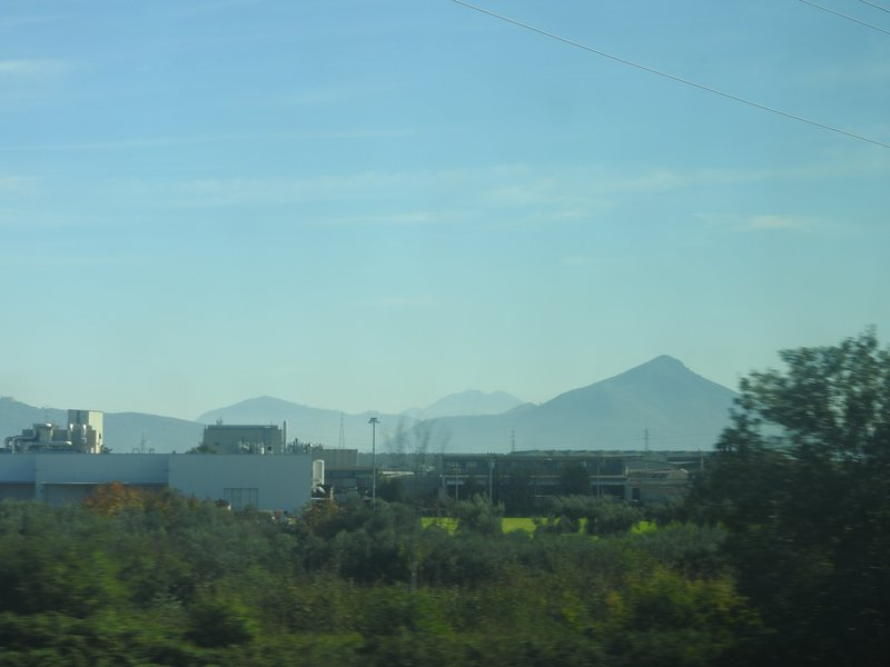 First view of Mt Vesuvius - heading into Naples