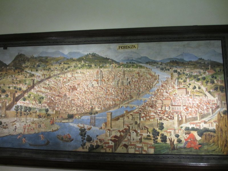Old map painting of Florence
