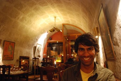 Arequipa - Ajay happy with his trilogy of fish at Zig Zag!