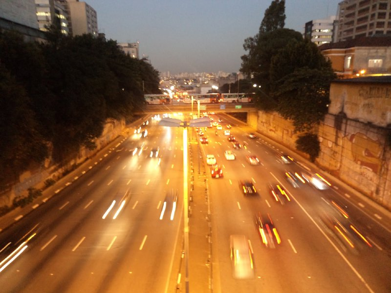 Sao Paulo - Evening traffic on intercity freeway