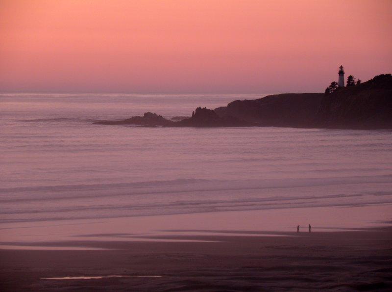 Sunset over Agate Beach & Yaquina Head Lighthouse