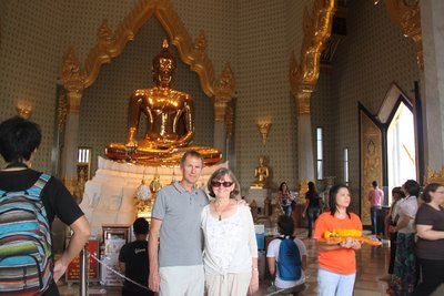 Frank and Christine at the Golden Buddha in Bangkok