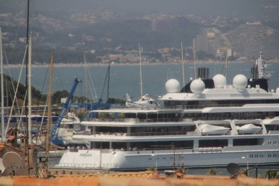 Mega Yacht with Helicopter, Antibes