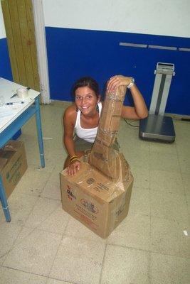 Het postpakket dat we naar huis stuurden!