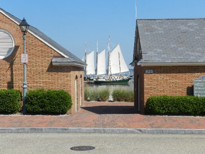 "Sailboat ""Alliance"" in Yorktown Harbor."
