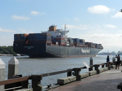 Container ship in river