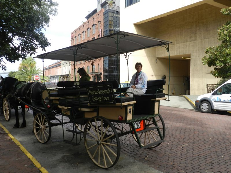 Getting ready for our carriage tour of Savannah.