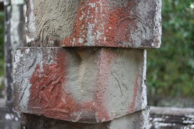 """Jenga"" column - I'm not sure what the red color is from, maybe paint?"