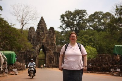 Getting ready to go through the entrance gate at Angkor Thom