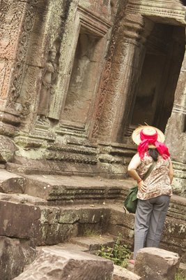 I also like the posture of this tourist peering inside the temple