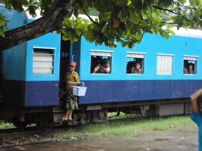 Vendors hop on and off trains, touting their wares