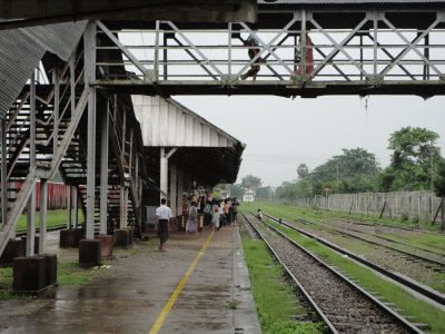 The Bago station platform just after a local train had departed