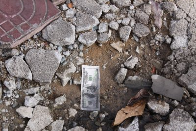 Temple Money lying in the street
