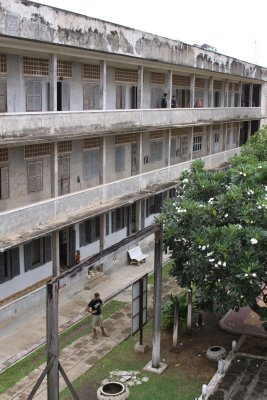 Tuol Sleng - The one time school building. Barbed wire covered the corridors to hamper suicide attempts