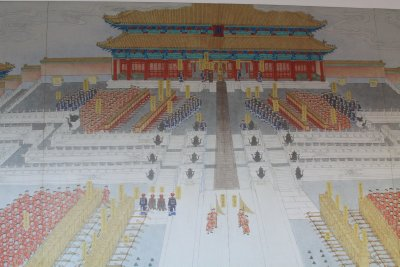 Wall murals show how the palace would have looked