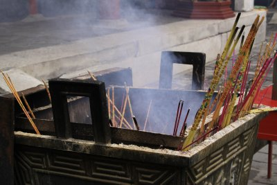 Incense burners inside the Lama Temple