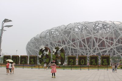 The aptly named Bird's Nest stadium - No idea why Minnie is there