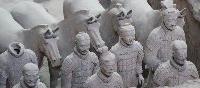 Cavalrymen leading their horses