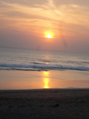 Sun sets on the island of Bali