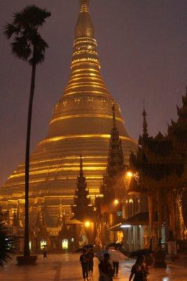 Shwedagon Paya was deserted but awe inspiring in the monsoon rain