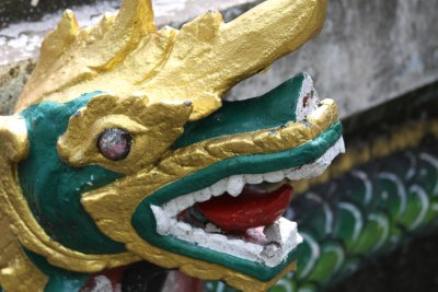 Snake dragons decorate many of the temples