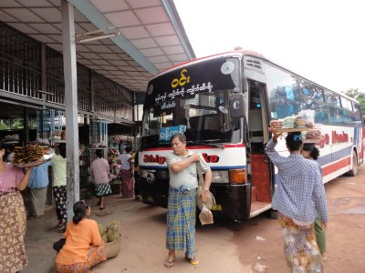 Our modern bus at the service area