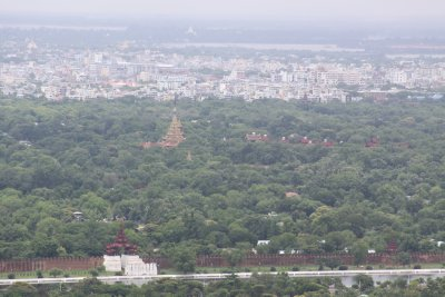 The Royal Palace and Mandalay city in the distance