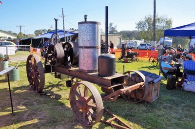 Hornsby oil engine circa 1908 rescued from a sheering shed at Bourke.