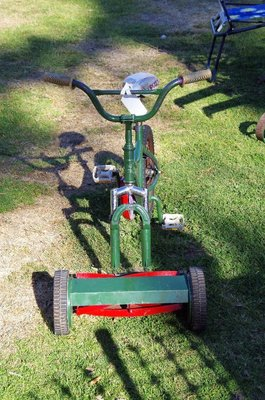 Lawn mower bicycle - keep fit and mow the lawns.