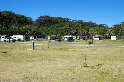 Seal Rocks caravan park - not too many customers at this time of year.