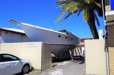 A boat undergoing repairs at Forster.