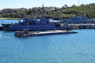 HMAS Gascoyne a mine sweeper at the nearby Naval base