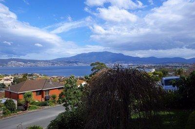Mt Wellington from our front verandah - No snow!