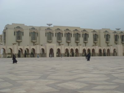 at the courtyard of Hassan II Mosque