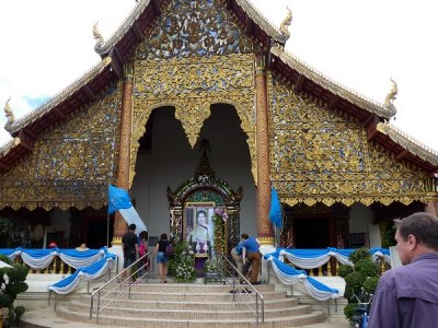 Temple with tribute to Thailand's Queen and her birthday