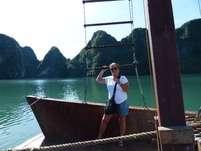 Brenda enjoying Halong Bay