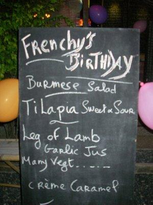 Happy Birthday Menu at Frenchy's