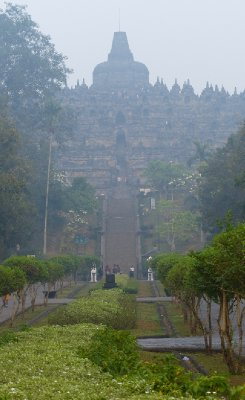 Our first view of Borobudur with early morning mist