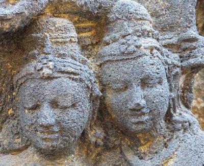 Ancient carving at Borobudur Temple