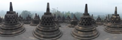 Morning mist seen in the background from the top of Borobudur Temple