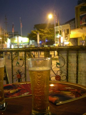 A Tall , Cold Carlsberg on the patio at Kashmir