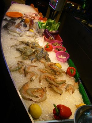 Pick your seafood at the Red Garden Cafe food stalls