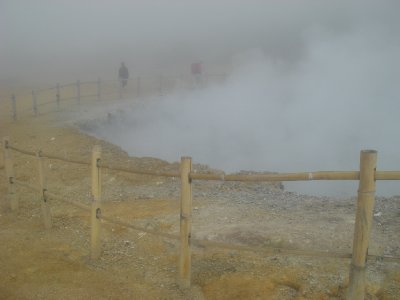 Steaming sulfur caldron
