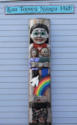 Totem outside the Healing Hut