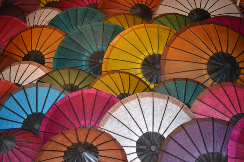Parasols for sale in night market, Luang Prabang