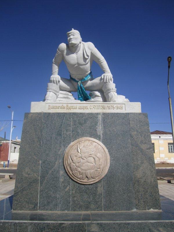 Wrestler statue (?)