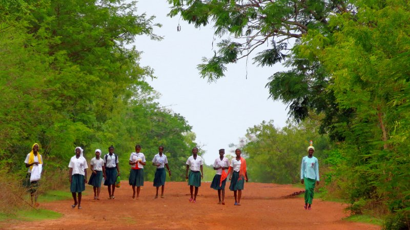 School Girls Walking Home