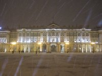Evening at a snow covered Winter Palace